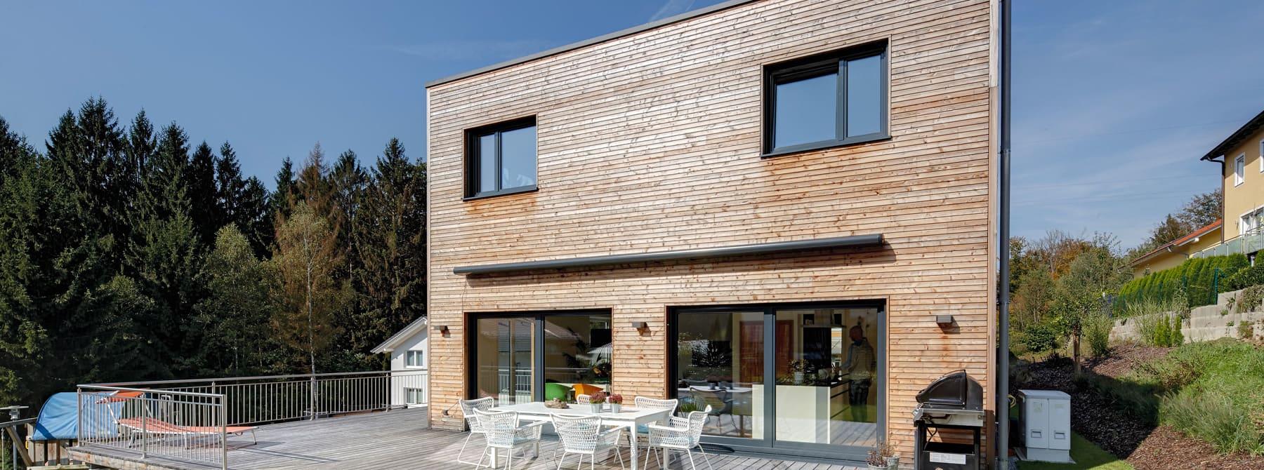 Kundenhaus gwandtner bauen sie ihr holzhaus passivhaus for Holzkubus haus