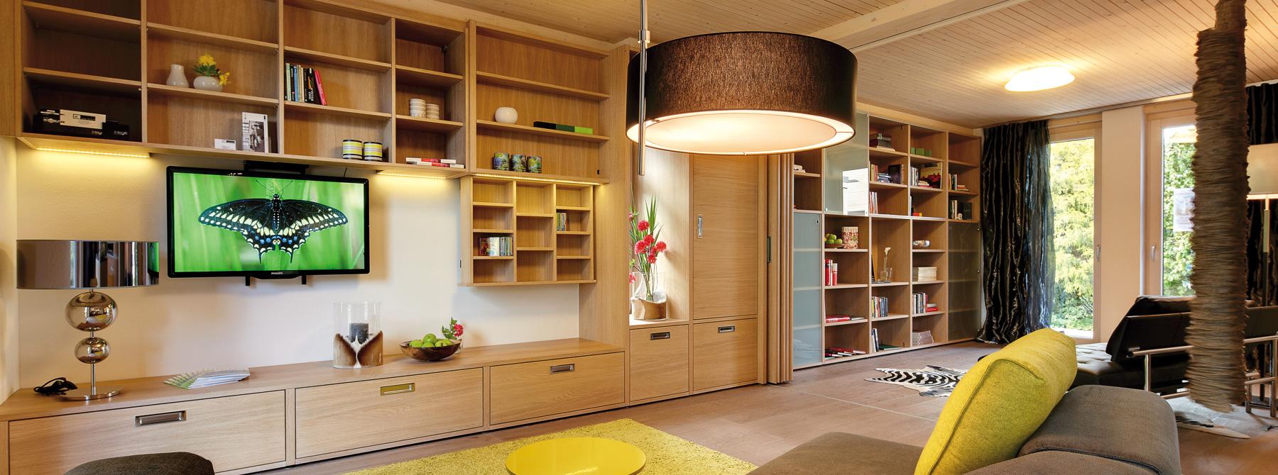^ Wohnwände aus Holz für Ihr Wohnzimmer - Sonnleitner.de - Bauen Sie ...